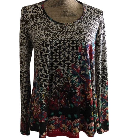 Green Inspired LS Printed Top S